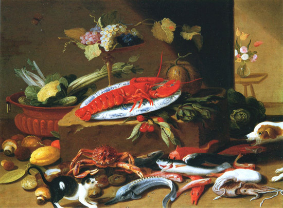 Dog and cat at a lobster