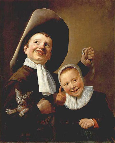 A Boy and a Girl with a Cat and an Eel