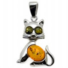 Multicolor Amber & Sterling Cat Pendant