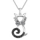 Diamond & Black Diamond Cat Pendant