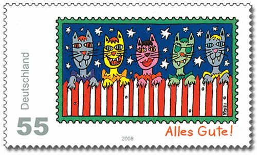 German Cat Stamp