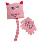 Pink Kitty Hat & Glove Set